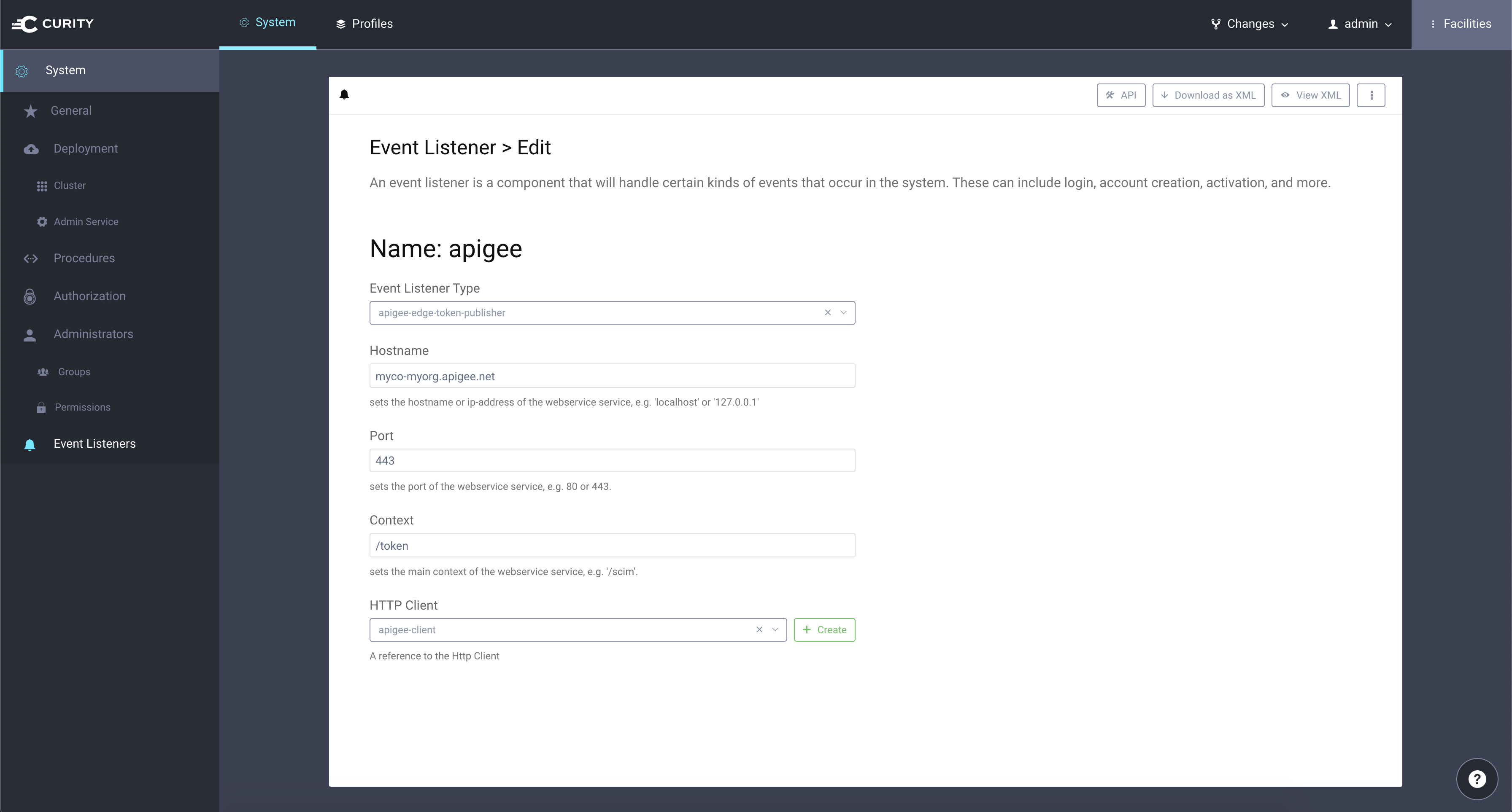 Configuring an Event Listener in the Curity Admin UI