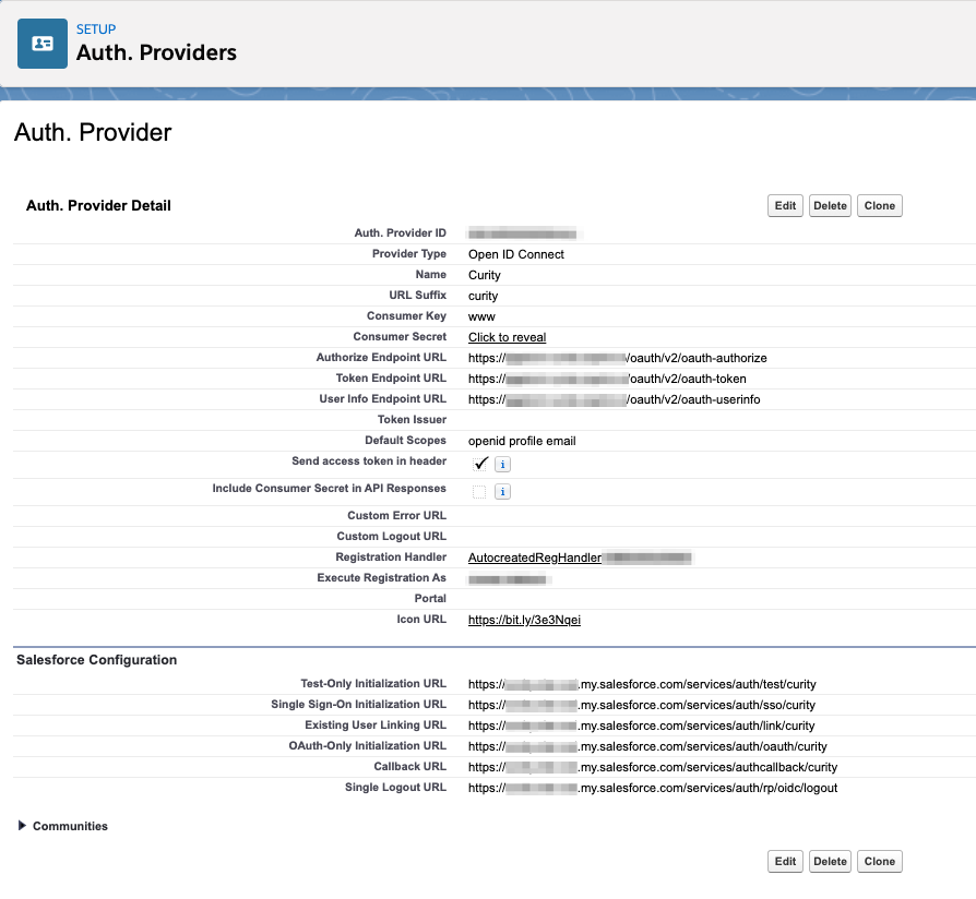Overview of newly create Auth. Provider